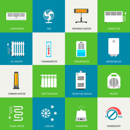 Heating, ventilation and conditioning icons set. Illustration