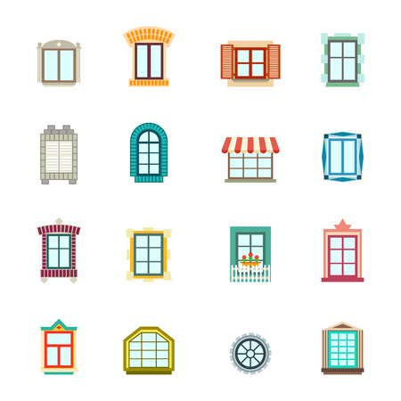 homes exterior: Vintage windows set. Flat exterior icons.