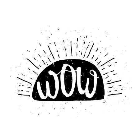 wow: Wow message poster with grunge texture Illustration