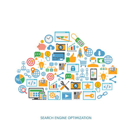 SEO optimization icons. Web development, internet marketing, web design, tags, target stratege, analysis Ilustracja