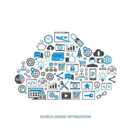 SEO optimization icons. Web development, internet marketing, web design, tags, target stratege, analysis Иллюстрация