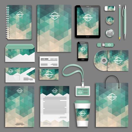 papírnictví: Šablony Corporate identity set. Obchodní papírnictví mock-up. Branding design.