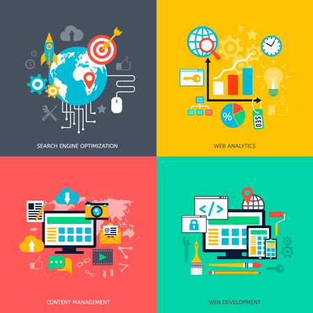 SEO optimization icons. Web development, internet marketing, web design, tags, target stratege, analysis Illustration