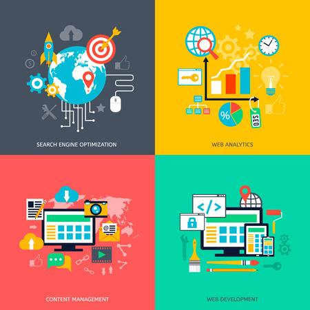 Iconos de optimización SEO. Desarrollo web, marketing en internet, diseño web, etiquetas, Stratege objetivo, análisis