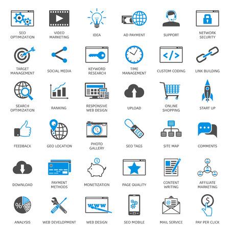SEO optimization icons. Web development, internet marketing, web design, tags, target stratege, analysis  イラスト・ベクター素材