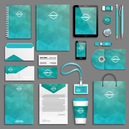 papeleria: Modelo de la identidad corporativa establece. Papel del asunto maqueta con el logotipo. Branding diseño. Vectores