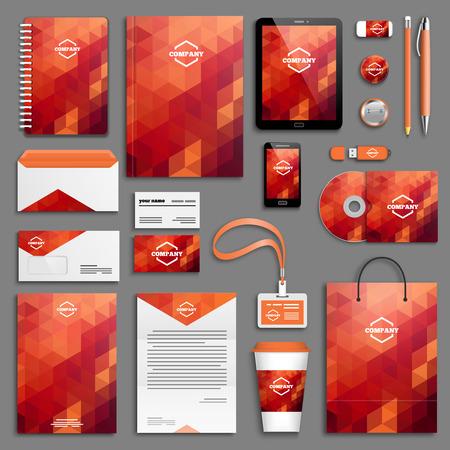 personalausweis: Corporate-Identity-Vorlage festgelegt. Geschäftsdrucksachen Mock-up mit Logo. Markendesign.
