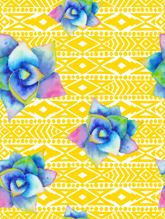 agave: Aztec tribal mexican seamless pattern with watercolor succulents. Hipster boho chic background with bright agave for phone case, t-shirt, textile Illustration