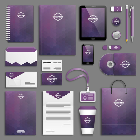 brand: Corporate identity template set. Business stationery mock-up with logo. Branding design.
