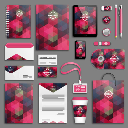 Corporate identity template set. Business stationery mock-up with logo. Branding design.