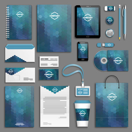 company background: Corporate identity template set. Business stationery mock-up with logo. Branding design.