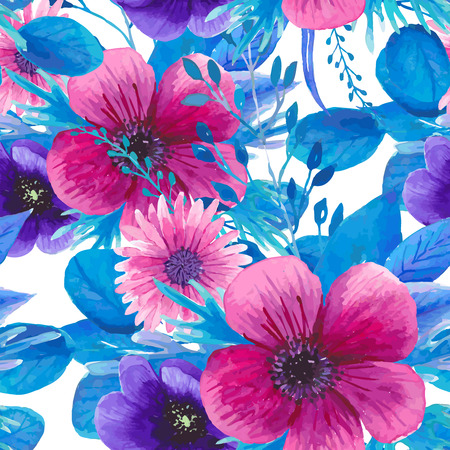 golden daisy: Watercolor seamless floral pattern in boho chic style.