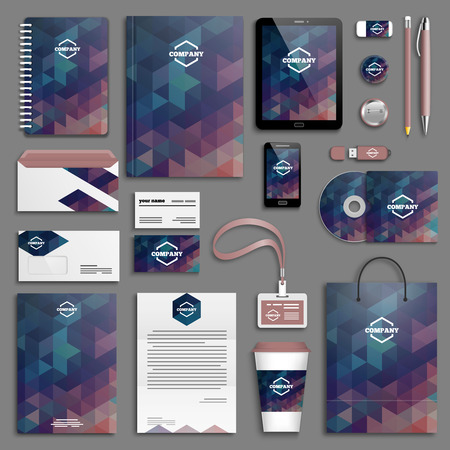 papírnictví: Šablony Corporate identity set. Obchodní papírnictví mock-up s logem. Branding design.