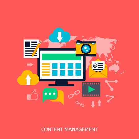 gestion empresarial: Contenido iconos gesti�n de SEO. Desarrollo web, marketing en Internet, dise�o de p�ginas web, las etiquetas, la estrategia de destino, el an�lisis Vectores