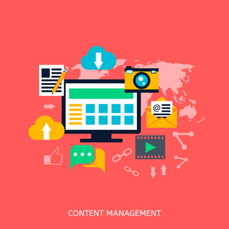 Iconos de SEO de gestión de contenido. Desarrollo web, marketing en internet, diseño web, etiquetas, estrategia objetivo, análisis