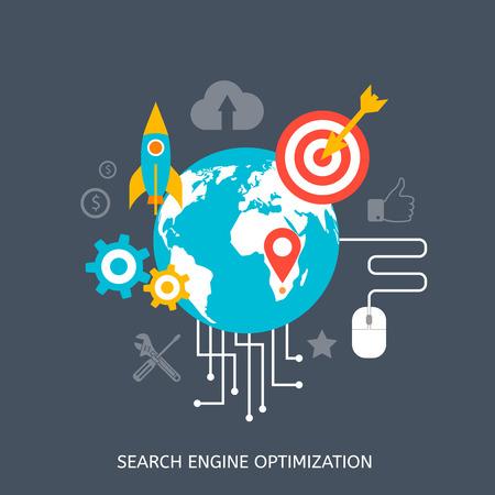 SEO optimization icons. Web development, internet marketing, web design, tags, target strategy, analysis