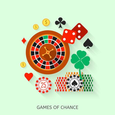 fichas casino: Iconos planos de juegos de azar. Colección concepto Casino.