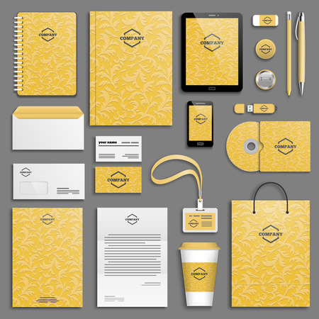 stationery: Corporate identity template set. Business stationery mock-up with logo. Branding design.