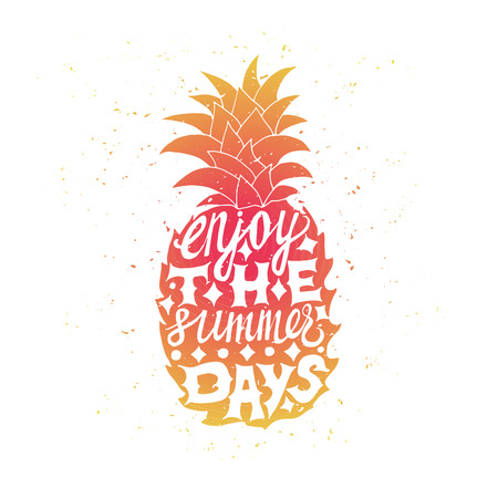 pineapple: Motivational travel poster with pineapple. Travel label with grunge texture. Enjoy the summer days