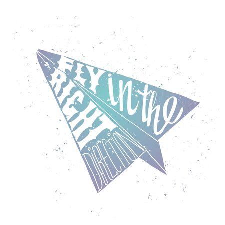 mosca: Cartel del viaje de motivaci�n con avi�n de papel. Etiqueta del recorrido con la textura del grunge. Volar en la direcci�n correcta