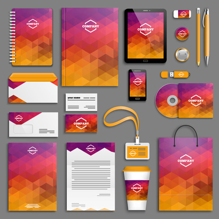 stationary: Corporate identity template set. Business stationery mock-up with logo. Branding design.