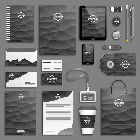 brand identity: Corporate identity template set. Business stationery mock-up with logo. Branding design.
