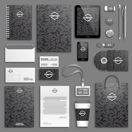 blank template: Corporate identity template set. Business stationery mock-up with logo. Branding design.