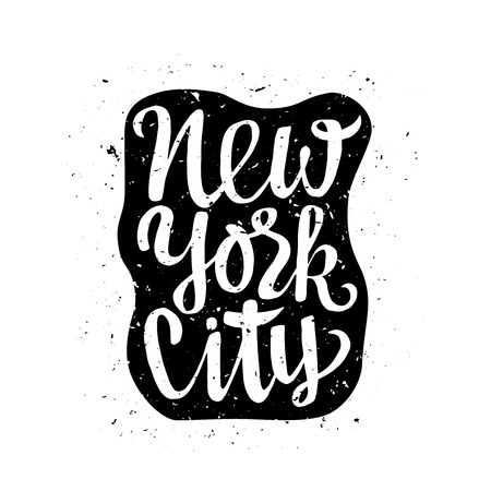 crafted: Travel poster with New York typography. Hand crafted lettering label with grunge texture.