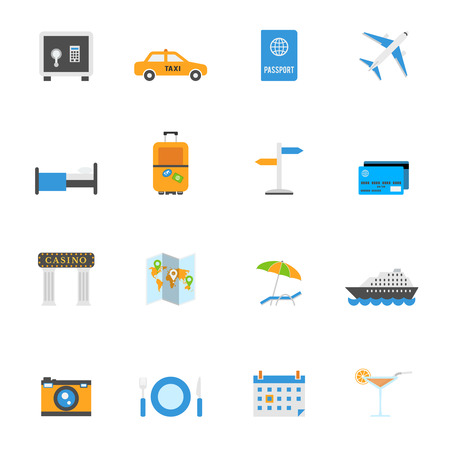 tree world tree service: Travel and tourism vector icons. Vacation and traveling signs in flat style.
