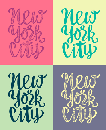 crafted: Travel poster with New York typography. Hand crafted lettering label with stamp effect.