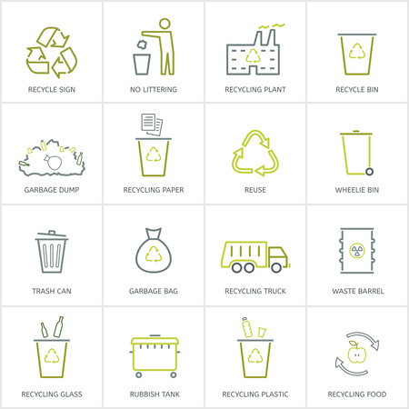 glass paper: Recycling garbage linear icons set. Waste utilization. Vector illustration.
