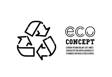 recycle symbol: Recycling garbage icons concept. Waste utilization. Vector illustration
