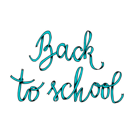 school student: Back to school ribbon poster with lettering. Education label with dots texture