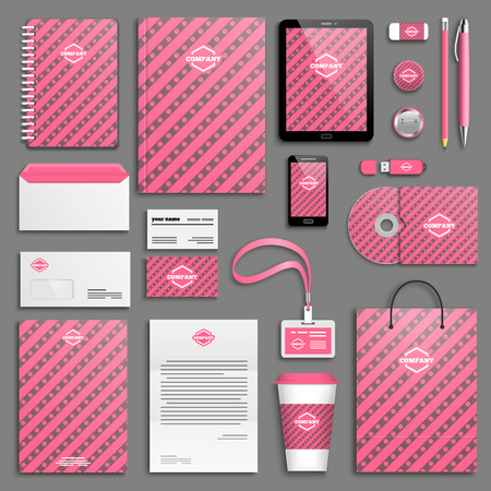 stationery: Corporate identity template set. Branding design. Illustration