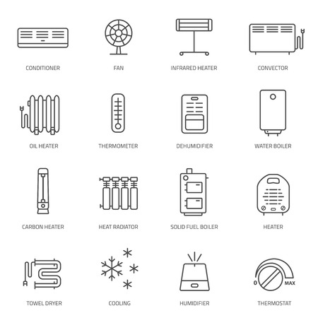 ventilation: Heating, ventilation and conditioning linear icons set.