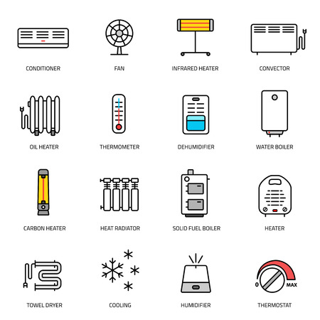 humidifier: Heating, ventilation and conditioning linear icons set.