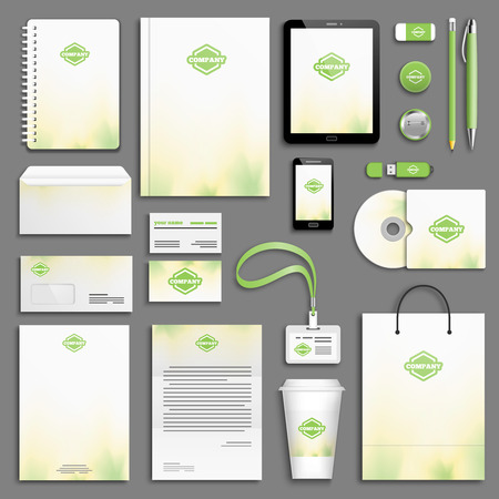 stationary: Corporate identity template set. Business stationery mock-up with . Branding design.