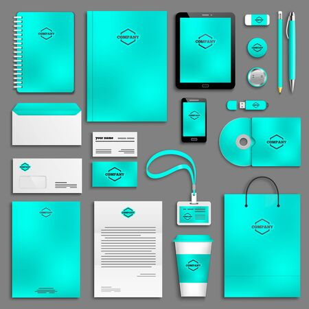 corporative: Corporate identity template set. Business stationery mock-up with . Branding design.