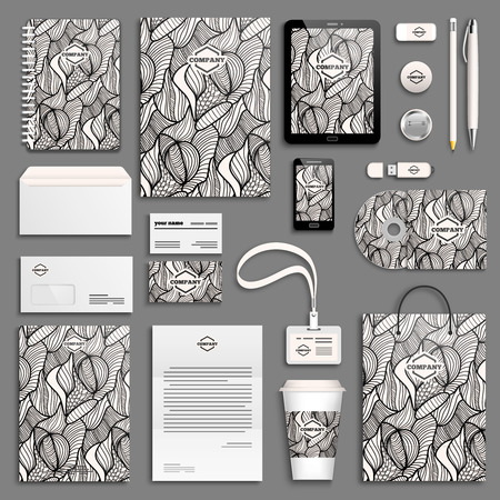 stationery: Corporate identity template set. Business stationery mock-up with . Branding design.