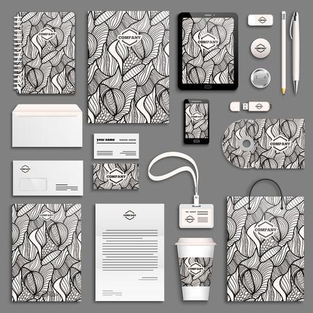 Corporate identity template set. Business stationery mock-up with . Branding design. Векторная Иллюстрация