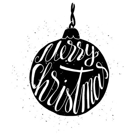 Hand-drawn greeting Christmas card with ball with grunge texture and with Merry Christmas typography. Holiday banner. Vintage poster.