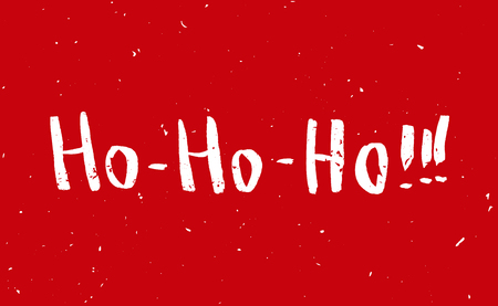 Red Greeting Christmas card with hand-drawn typography lettering. Holiday banner. Vintage poster. Ho-Ho-Ho