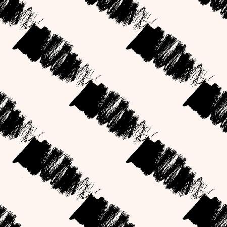 wickerwork: Scandinavian seamless pattern with diagonal black strokes. Geometric texture. Abstract background. Illustration
