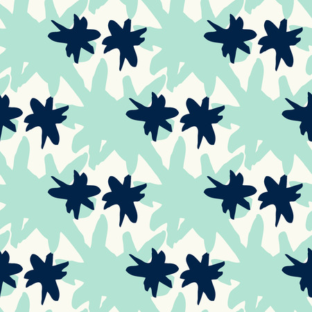 Luxury seamless pattern with thick brush aqua mint star strokes. Geometric texture. Abstract background.  イラスト・ベクター素材