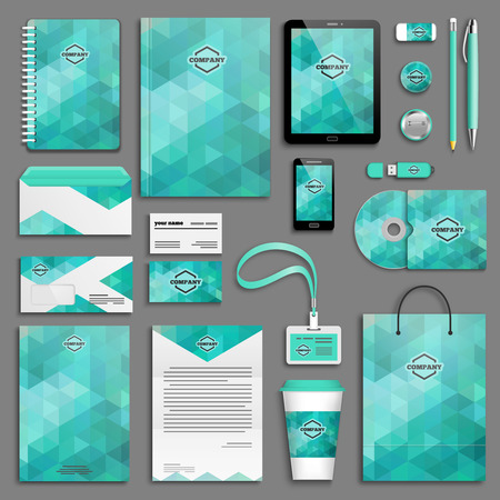 presentation card: Aqua Corporate identity template set. Business stationery mock-up with logo. Branding design.