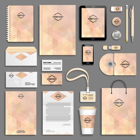 corporative: Pastel Corporate identity template set. Business stationery mock-up with logo. Branding design.