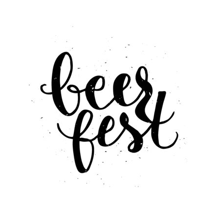 beer fest: Beer fest. Oktoberfest beer label. Typographic poster with hand drawn quote. Lettering with grunge texture. Illustration