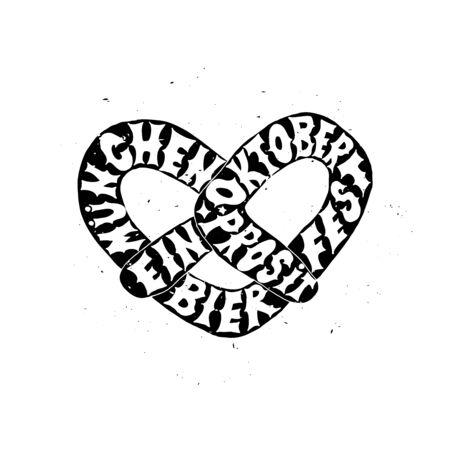 Ein prosit. Munchen. Oktoberfest beer label. Typographic poster with hand drawn quote. Lettering with grunge texture.