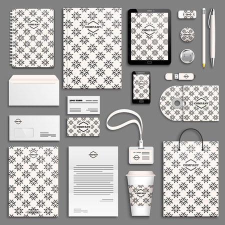 corporative: Black and white Corporate identity template set. Business stationery mock-up with logo. Branding design.