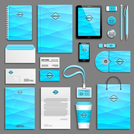 booklet design: Blue Gradient Corporate identity template set. Business stationery mock-up with logo. Branding design.